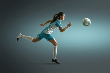 Woman plays soccer