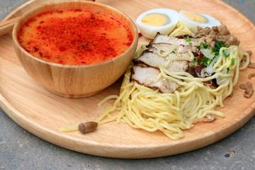 Spicy pork ramen soup - Japanese food