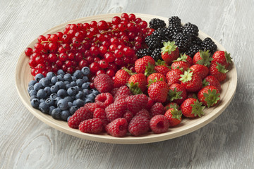 Fresh summer fruit on a plate