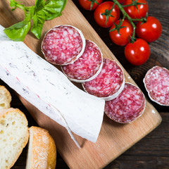 Salami bread with basil and cherry tomatoes