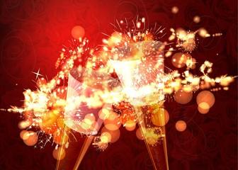 Romantischer Hintergrund mit Feuerwerk und Sektgläsern