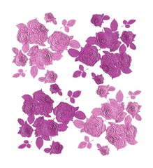 Rose Relief Old pink / purple on white