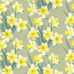 Seamless vintage pattern lush yellow daffodils