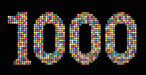 Number 1000 consisting of exactly one thousand colorful particles such as marbles, beads or balls - isolated vector illustration on black background.