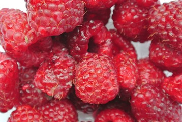 Closeup of a pile of ripe red juicy raspberries. Healthy/clean eating concept; fresh, organic, unprocessed food; paleo diet.