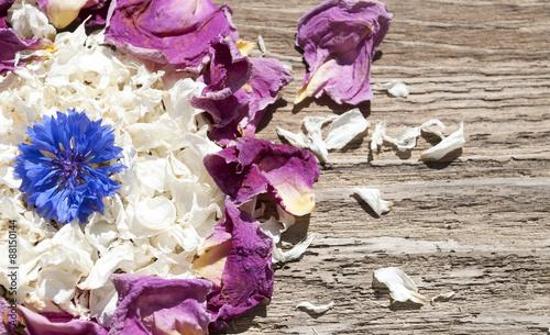 potpourri aus getrockneten jasmin bl ten rosen und blaue kornblume auf altem treibholz holz. Black Bedroom Furniture Sets. Home Design Ideas