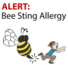 Cartoon Bee Stinging Man