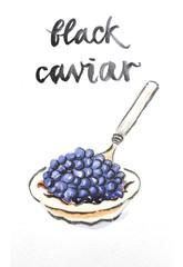 Watercolor black caviar