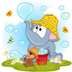 elephant and mouse inflated bubbles - vector illustration, eps