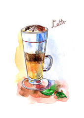 Watercolor coffee latte