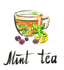 Watercolor mint tea