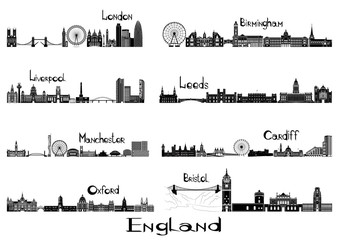 Silhouette signts of 8 cities of England - London, Liverpool, Manchester, Oxford, Birmingham, Leeds, Cardiff, Bristol