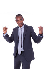 African american business man with clenched fist over white back