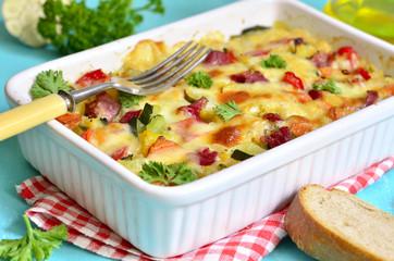 Vegetable casserole with pork shank.