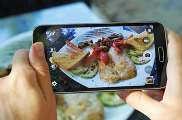 Female hands with smartphone taking photo of grilled chicken with  vegetables