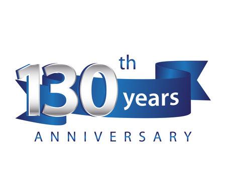 130 Years Anniversary Logo Blue Ribbon