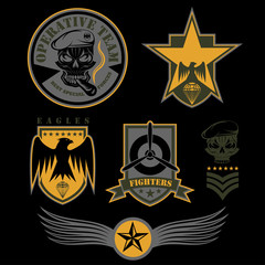 Special unit military emblem set vector design template