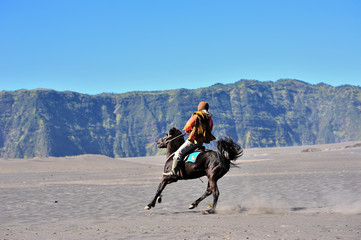 Horse rider at volcanic plateau of mount Bromo