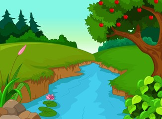 forest with river cartoon