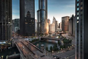Photo sur Plexiglas Chicago Chicago downtown dawn