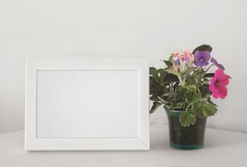 white frame and flower