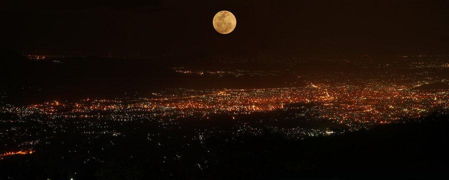 Beautiful night scene of salem city and full moon