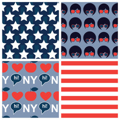 set of american vector seamless patterns