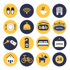 set of icons for hotel service
