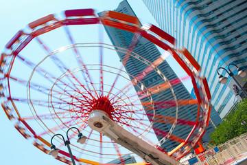 Spinning Ferris wheel (Big Wheel). Yokohama City, Japan