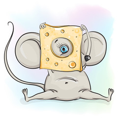 The mouse looks out of cheese