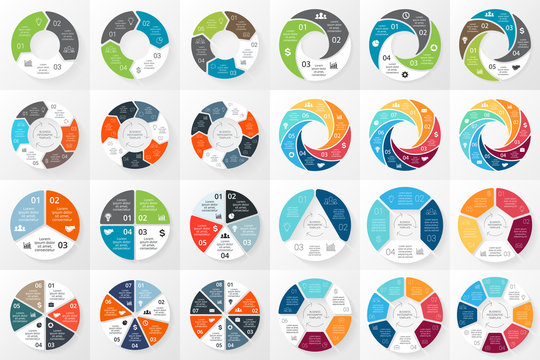 Vector circle arrows infographics bundle. Template for cycle