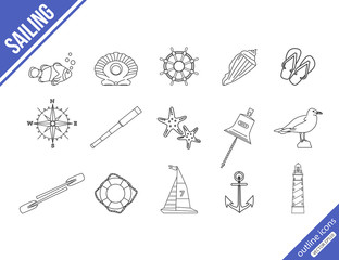 Marine outline icons set.