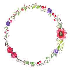 Watercolor vintage floral wreath. Hand printed round frame with flowers, barries and floral elements.