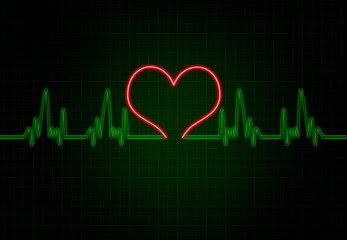 Cardiac Frequency in Green Colour with heart shape.