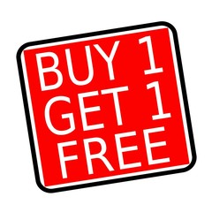 Buy 1 get 1 free white stamp text on red background
