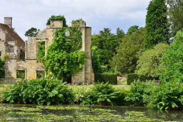 Ruins of a castle in Kent with a Moat