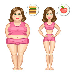 Fat and slim girl. Vector illustration.