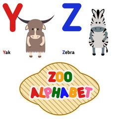 Cute zoo alphabet in vector. Y, z.