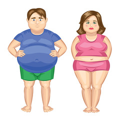 Fat woman and fat man. Vector illustration.