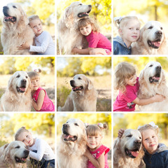Collage of photos with baby girls holding funny dog outdoors. Childhood.
