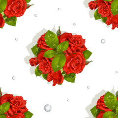 Seamless pattern of a romantic bouquet of red roses and diamonds