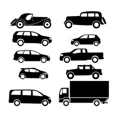 Sets icon of silhouette cars. 10 icon.