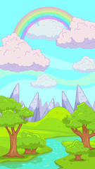 Cute cartoon nature landscape