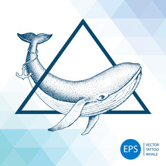 Vector hand drawn whale illustration background. Whale tattoo
