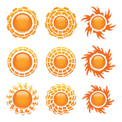 Sun icon set on white background.