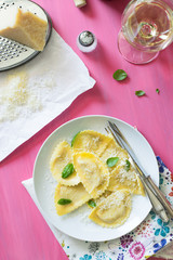 Italian Ravioli Served with Basil and Parmesan Cheese