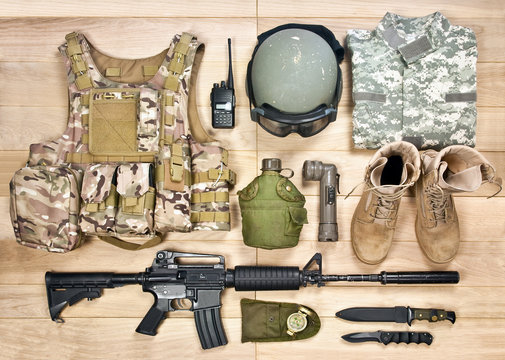 set of military equipment of the 21st century