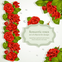 Corners and repeating a garland for design from red romantic ros