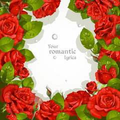 Frame  from red roses with a field for your text