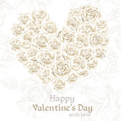 Happy Valentine`s day retro banner with white roses in heart sha